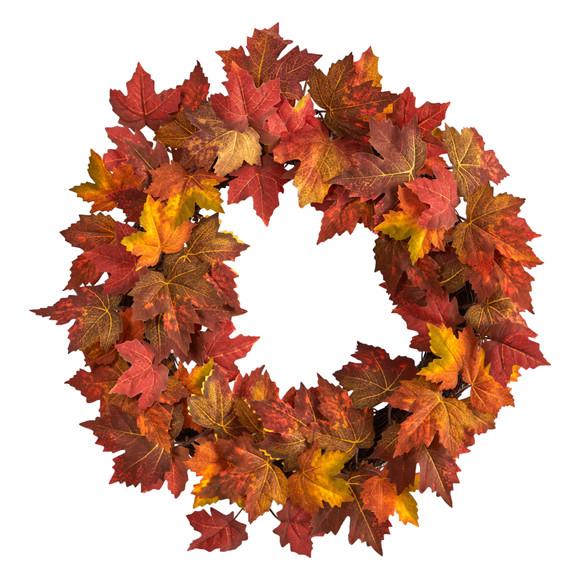 22 Maple Leaf Artificial Wreath - SKU #W1216