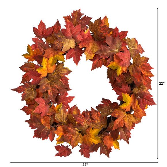 22 Maple Leaf Artificial Wreath - SKU #W1216 - 1