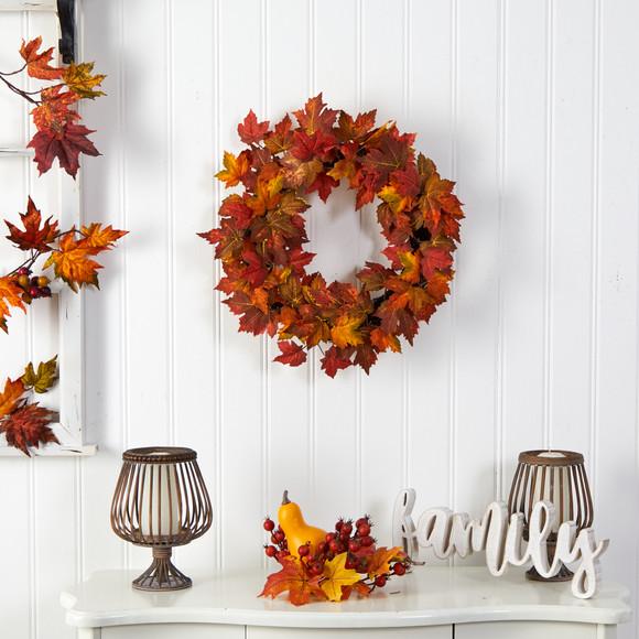 22 Maple Leaf Artificial Wreath - SKU #W1216 - 2