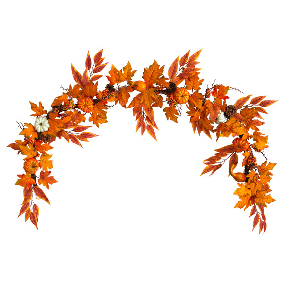 6 Assorted Autumn Maple Leaves Pumpkins Gourds Berries and Pinecone Artificial Fall Garland - SKU #W1217