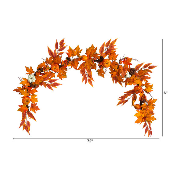 6 Assorted Autumn Maple Leaves Pumpkins Gourds Berries and Pinecone Artificial Fall Garland - SKU #W1217 - 1
