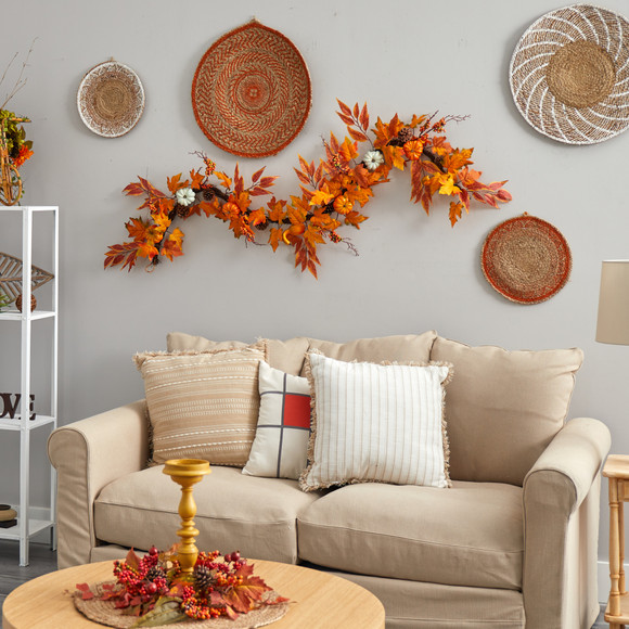 6 Assorted Autumn Maple Leaves Pumpkins Gourds Berries and Pinecone Artificial Fall Garland - SKU #W1217 - 2