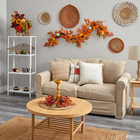 6 Assorted Autumn Maple Leaves Pumpkins Gourds Berries and Pinecone Artificial Fall Garland - SKU #W1217 - 3