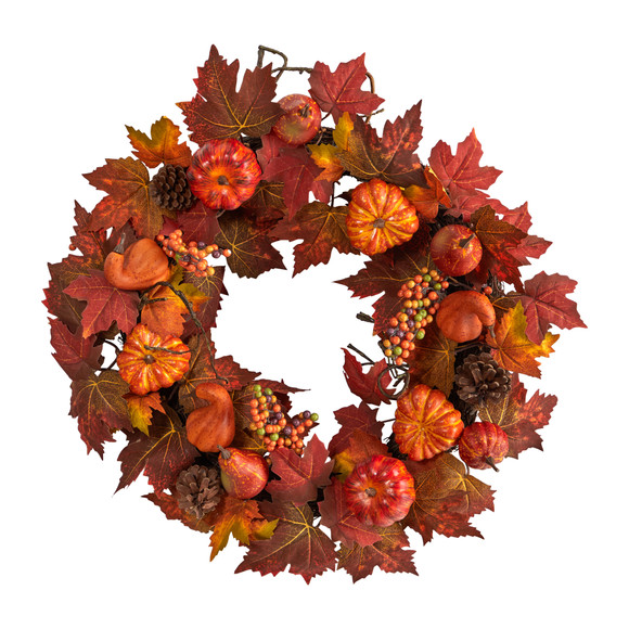 24 Autumn Maple Leaves Pumpkin Pinecone and Berries Artificial Fall Wreath - SKU #W1218