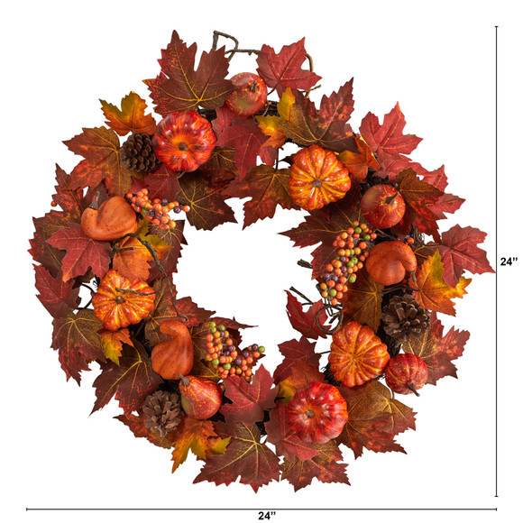 24 Autumn Maple Leaves Pumpkin Pinecone and Berries Artificial Fall Wreath - SKU #W1218 - 1