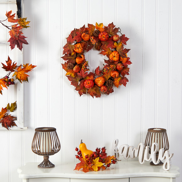 24 Autumn Maple Leaves Pumpkin Pinecone and Berries Artificial Fall Wreath - SKU #W1218 - 2