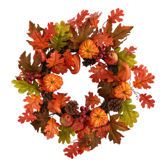 20 Autumn Assorted Maple Leaf Pumpkin Gourd Pinecone and Berry Artificial Fall Wreath - SKU #W1221