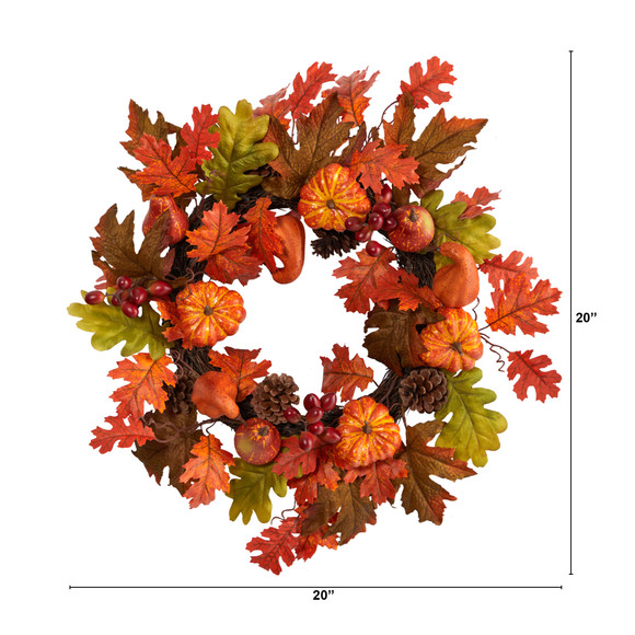 20 Autumn Assorted Maple Leaf Pumpkin Gourd Pinecone and Berry Artificial Fall Wreath - SKU #W1221 - 1