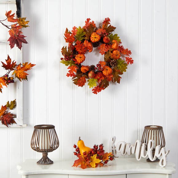 20 Autumn Assorted Maple Leaf Pumpkin Gourd Pinecone and Berry Artificial Fall Wreath - SKU #W1221 - 2