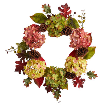 25 Autumn Hydrangea and Pinecones Fall Artificial Wreath - SKU #W1225