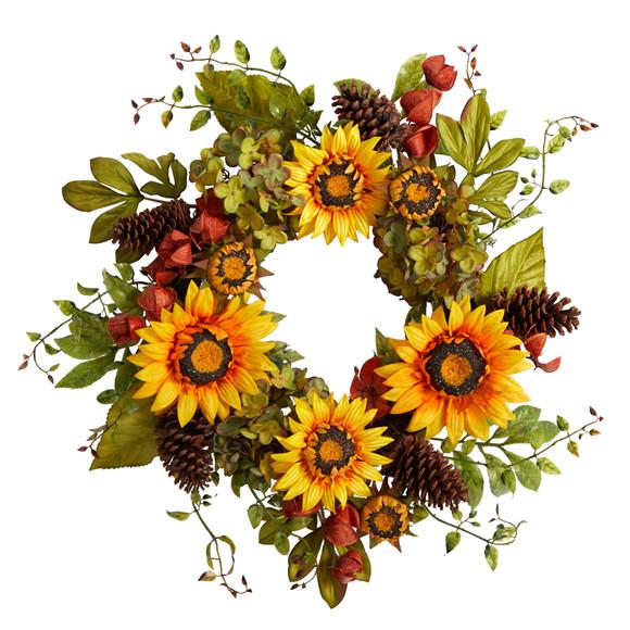 26 Fall Hydrangea Sunflower and Pinecones Artificial Autumn Wreath - SKU #W1226