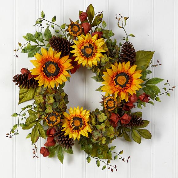 26 Fall Hydrangea Sunflower and Pinecones Artificial Autumn Wreath - SKU #W1226 - 2