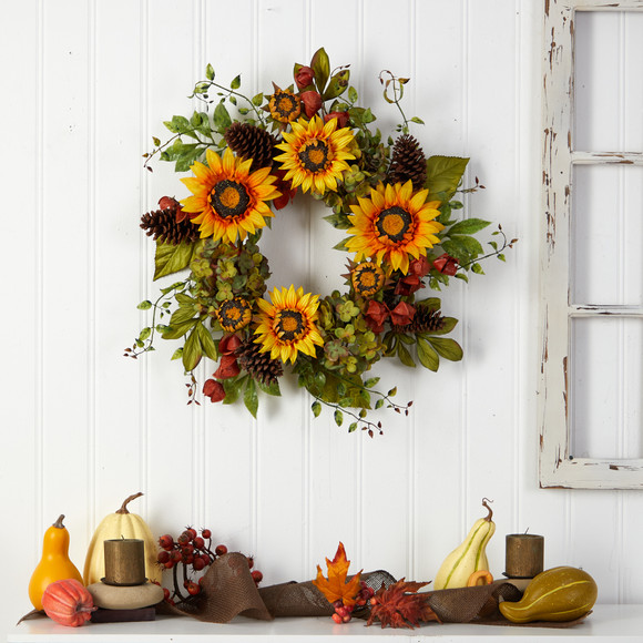 26 Fall Hydrangea Sunflower and Pinecones Artificial Autumn Wreath - SKU #W1226 - 3