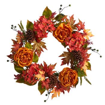 25 Fall Ranunculus Hydrangea and Berries Autumn Artificial Wreath - SKU #W1229