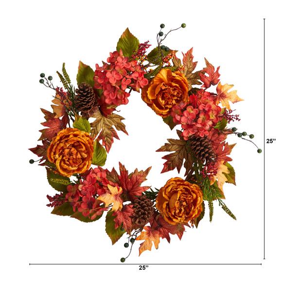 25 Fall Ranunculus Hydrangea and Berries Autumn Artificial Wreath - SKU #W1229 - 1