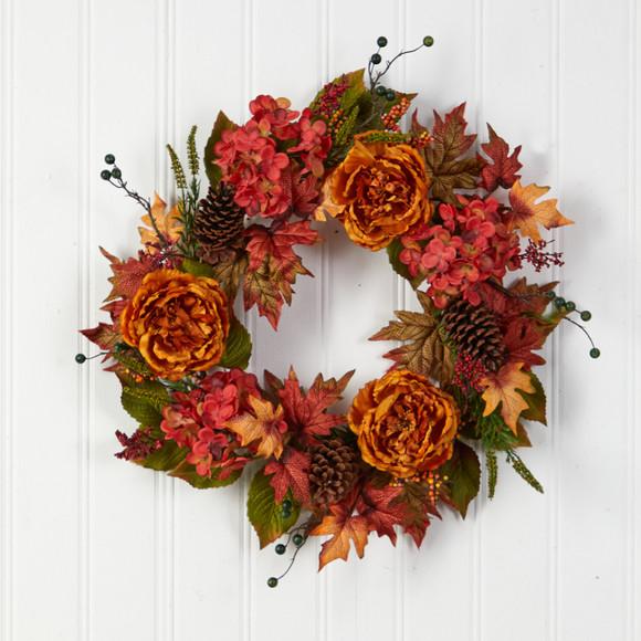 25 Fall Ranunculus Hydrangea and Berries Autumn Artificial Wreath - SKU #W1229 - 2
