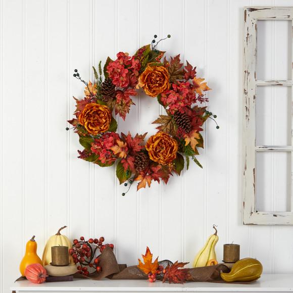 25 Fall Ranunculus Hydrangea and Berries Autumn Artificial Wreath - SKU #W1229 - 3