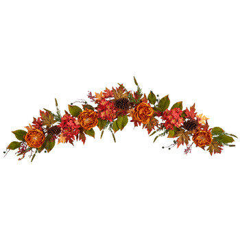 6 Fall Ranunculus Hydrangea and Berries Autumn Artificial Garland - SKU #W1230