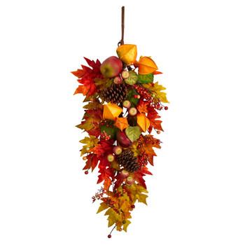 35 Autumn Maple Leaf and Berries Fall Teardrop - SKU #W1231