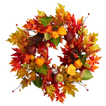 24 Autumn Maple Leaf and Berries Fall Artificial Wreath - SKU #W1232