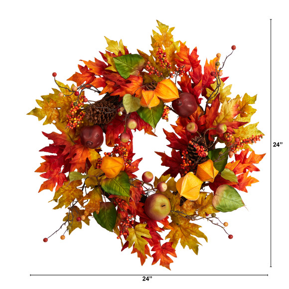 24 Autumn Maple Leaf and Berries Fall Artificial Wreath - SKU #W1232 - 1