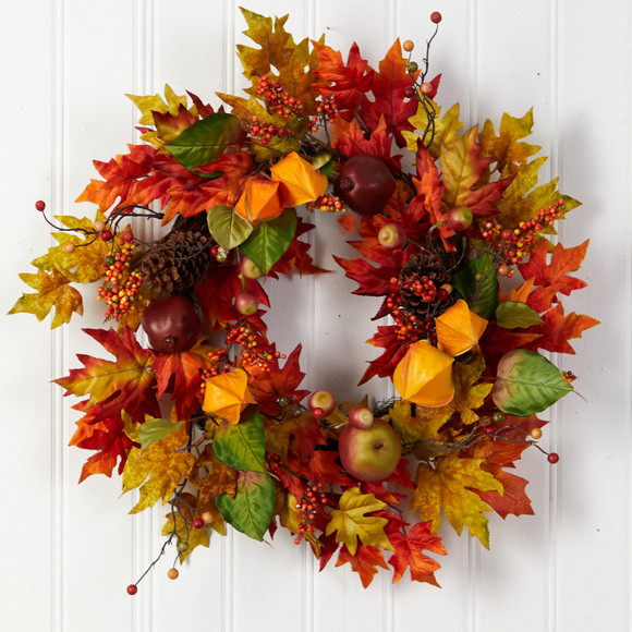 24 Autumn Maple Leaf and Berries Fall Artificial Wreath - SKU #W1232 - 2