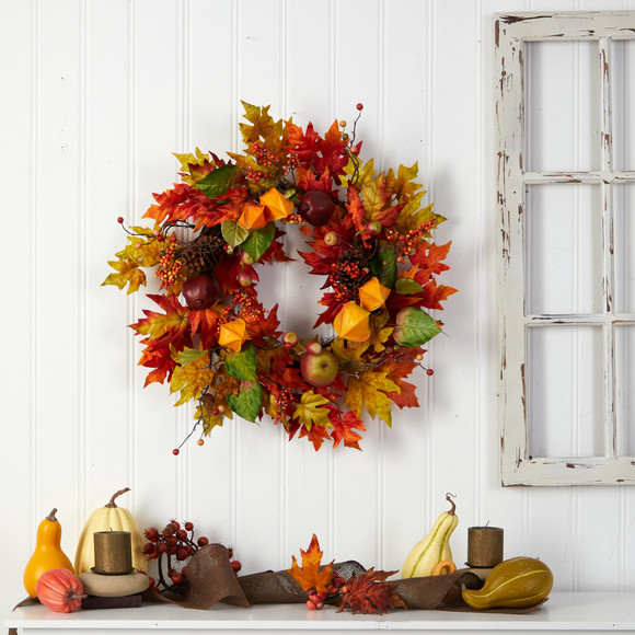 24 Autumn Maple Leaf and Berries Fall Artificial Wreath - SKU #W1232 - 3