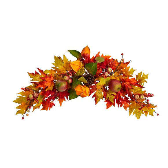 38 Autumn Maple Leaf Berry Artificial Swag - SKU #W1233