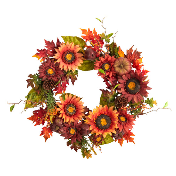 24 Autumn Sunflower Pumpkin Pinecone and Berries Fall Artificial Wreath - SKU #W1234