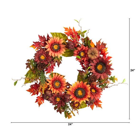 24 Autumn Sunflower Pumpkin Pinecone and Berries Fall Artificial Wreath - SKU #W1234 - 1
