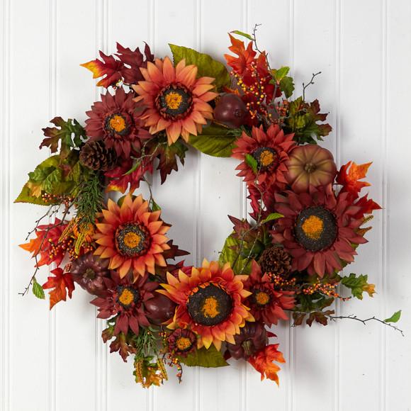 24 Autumn Sunflower Pumpkin Pinecone and Berries Fall Artificial Wreath - SKU #W1234 - 2