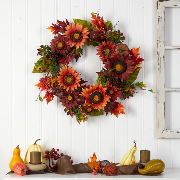 24 Autumn Sunflower Pumpkin Pinecone and Berries Fall Artificial Wreath - SKU #W1234 - 3
