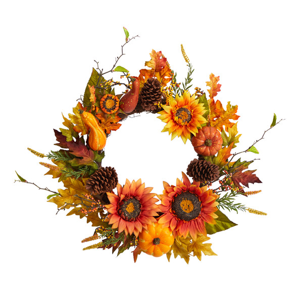 24 Fall Sunflower Pumpkin Gourds Pinecone and Berries Autumn Artificial Wreath - SKU #W1235