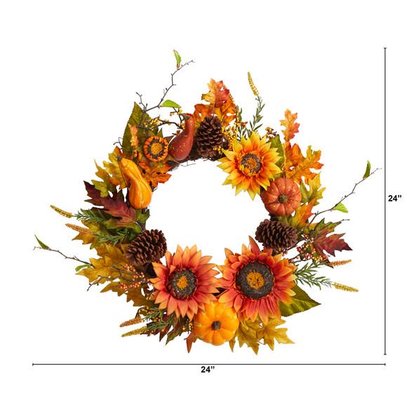 24 Fall Sunflower Pumpkin Gourds Pinecone and Berries Autumn Artificial Wreath - SKU #W1235 - 1