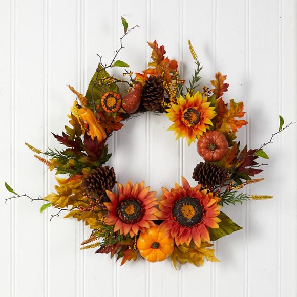 24 Fall Sunflower Pumpkin Gourds Pinecone and Berries Autumn Artificial Wreath - SKU #W1235 - 2
