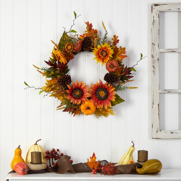 24 Fall Sunflower Pumpkin Gourds Pinecone and Berries Autumn Artificial Wreath - SKU #W1235 - 3