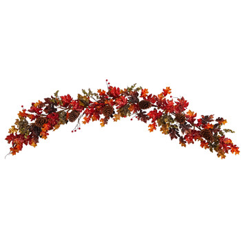 6 Autumn Maple Leaves Berry and Pinecones Fall Artificial Garland - SKU #W1236