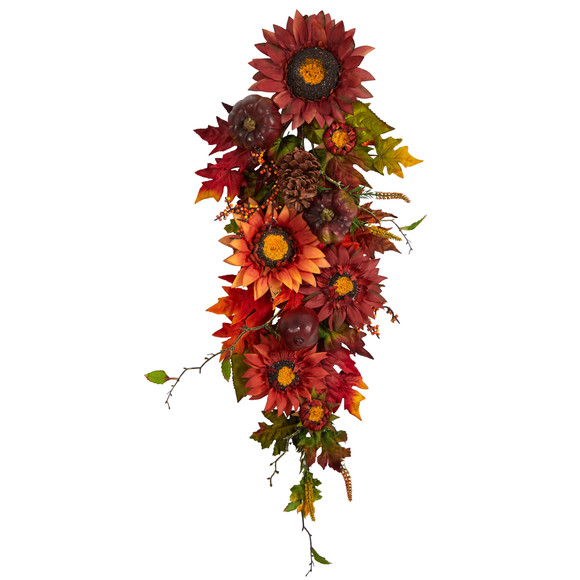 35 Autumn Sunflower Pumpkin and Berries Artificial Teardrop - SKU #W1237