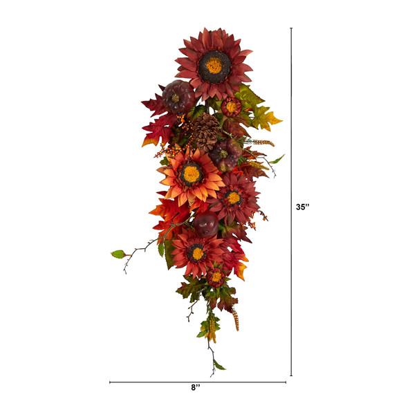 35 Autumn Sunflower Pumpkin and Berries Artificial Teardrop - SKU #W1237 - 1