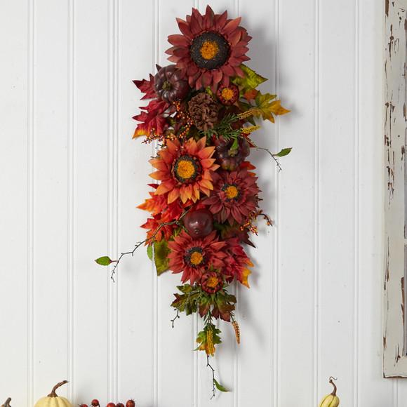 35 Autumn Sunflower Pumpkin and Berries Artificial Teardrop - SKU #W1237 - 2