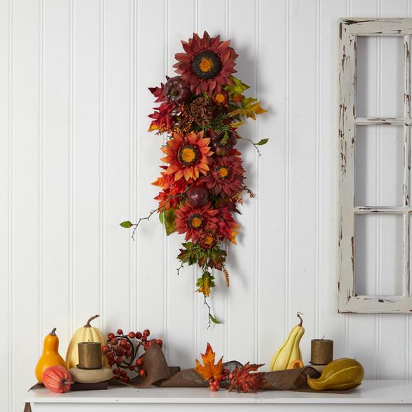 35 Autumn Sunflower Pumpkin and Berries Artificial Teardrop - SKU #W1237 - 3