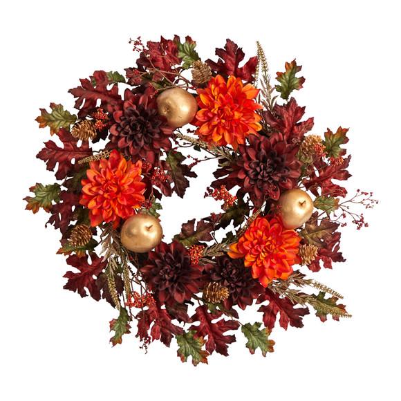 24 Fall Dahlia Golden Apple Oak Leaf and Berries Autumn Artificial Wreath - SKU #W1238