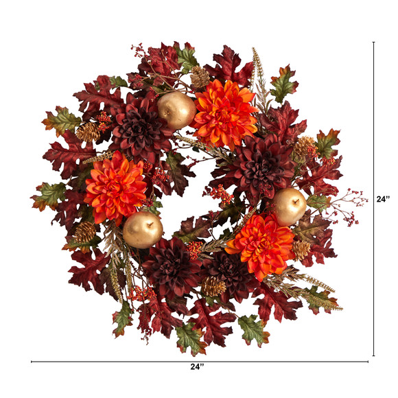 24 Fall Dahlia Golden Apple Oak Leaf and Berries Autumn Artificial Wreath - SKU #W1238 - 1