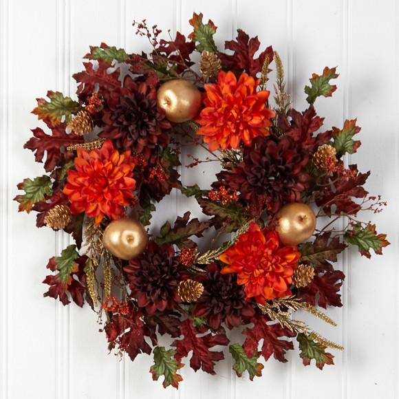 24 Fall Dahlia Golden Apple Oak Leaf and Berries Autumn Artificial Wreath - SKU #W1238 - 2