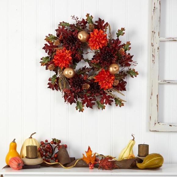 24 Fall Dahlia Golden Apple Oak Leaf and Berries Autumn Artificial Wreath - SKU #W1238 - 3
