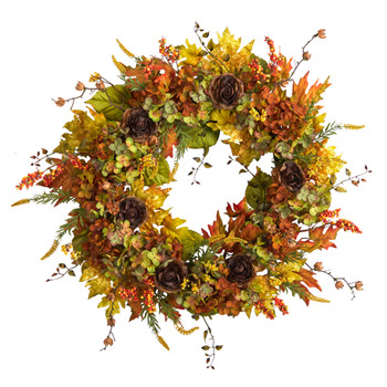 32 Fall Hydrangea Ranunculus and Maple Leaf Autumn Artificial Wreath - SKU #W1239