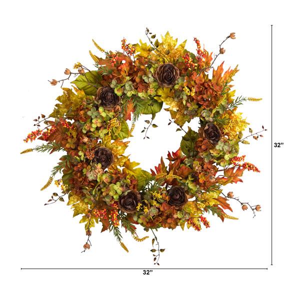 32 Fall Hydrangea Ranunculus and Maple Leaf Autumn Artificial Wreath - SKU #W1239 - 1