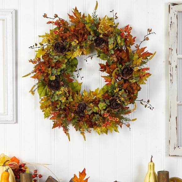 32 Fall Hydrangea Ranunculus and Maple Leaf Autumn Artificial Wreath - SKU #W1239 - 2