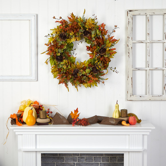 32 Fall Hydrangea Ranunculus and Maple Leaf Autumn Artificial Wreath - SKU #W1239 - 3