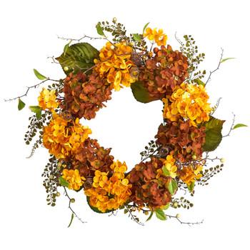 24 Fall Hydrangea Artificial Autumn Wreath - SKU #W1240